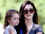 """**EXCLUSIVE**  Date: June 24th 2015  Photo Credit: MOVI Inc/London Entertainment \nActress Megan Fox cradles her adorable lookalike son Noah,2, as the pair head to their car after a play date at a Beverly Hills,Ca park. The """"Teenage Mutant Ninja Turtles"""" stunner also has a 1-year-old son with her husband Brian Austin Green. \n"""