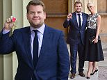 Mandatory Credit: Photo by Ray Tang/REX Shutterstock (4881180g)  James Corden and Julia Carey  Investitures at Buckingham Palace, London, Britain - 25 Jun 2015
