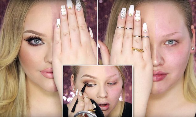 Beauty guru Nikkie demonstrates make-up's by transforming HALF of her face