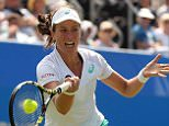 EASTBOURNE, ENGLAND - JUNE 25:  Johanna Konta of Great Britain in action during her quarter final match against Belinda Bencic of Switzerland on day five of the Aegon International at Devonshire Park on June 25, 2015 in Eastbourne, England.  (Photo by Ben Hoskins/Getty Images for LTA)