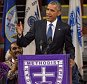 epa04820664 U.S. President Barack Obama delivers the eulogy at the funeral of slain State Senator Clementa Pinckney at the TD Arena in Charleston, South Carolina, USA, 26 June 2015. Pinckney was one of the nine victims in the 17 June shooting at Emanuel African Methodist Episcopal Church in Charleston.  EPA/RICHARD ELLIS