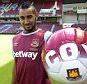 LONDON, ENGLAND - JUNE 26: (EXCLUSIVE COVERAGE) Dimitri Payet poses after signing for West Ham United at Upton Park on June 26, 2015 in London, England.  (Photo by Arfa Griffiths/West Ham United via Getty Images)