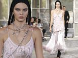 epa04820415 US model Kendall Jenner presents a creation from the Spring/Summer 2016 Menswear collection by Italian designer Riccardo Tisci for Givenchy during the Paris Men's Fashion Week, in Paris, France, 26 June 2015. The presentation of the Men's collections runs from 24 to 28 June.  EPA/GUILLAUME HORCAJUELO