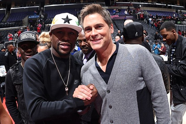 Floyd Mayweather celebrates birthday at LA Clippers game as boxer prepares to fight Manny