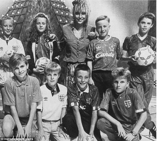 Jamie Carragher (second row, far right) appears on 'But Can You Do It On TV' with Michaela Strachan (centre)