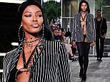 Naomi Campbell wears a creation as part of Givenchy's men's Spring-Summer 2016 fashion collection presented Friday, June 26, 2015 in Paris, France. (AP Photo/Zacharie Scheurer)