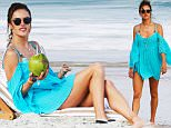 """UK CLIENTS MUST CREDIT: AKM-GSI ONLY\nEXCLUSIVE: Alessandra Ambrosio enjoys the sun in a turquoise beach dress during a break from filming Brazilian Soap Opera """"Verdades Secretas"""". The sexy mother of two sipped on a fresh coconut and answered a few phone calls.\n\nPictured: Alessandra Ambrosio\nRef: SPL1064370  260615   EXCLUSIVE\nPicture by: AKM-GSI / Splash News\n\n"""