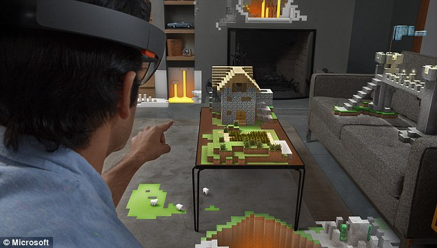 The headset can project virtual screens and objects onto the wearer's field of view, and Microsoft has already built a version of Minecraft for the system.