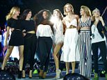 LONDON, ENGLAND - JUNE 27:  Martha Hunt, Kendall Jenner, Serena Williams, Taylor Swift, Karlie Kloss, Gigi Hadid and Cara Delevingne perform onstage during The 1989 World Tour at Hyde Park on June 27, 2015 in London, England.   (Photo by Dave Hogan/TAS/Getty Images for TAS)
