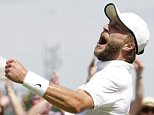Liam Broady of Britain celebrates after winning his match against Marinko Matosevic of Australia  at the Wimbledon Tennis Championships in London, June 29, 2015.  REUTERS/Henry Browne