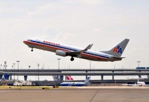 An American Airlines jet taking off in Dallas