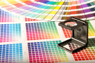 Magnifying Glass on the CMYK and Pantone Swatches.