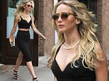 Jennifer Lawrence steps out looking beautiful in a black crop top and matching skirt in Tribeca, NYC.\n\nPictured: Jennifer Lawrence\nRef: SPL1064535  280615  \nPicture by: Said Elatab/Splash News\n\nSplash News and Pictures\nLos Angeles: 310-821-2666\nNew York: 212-619-2666\nLondon: 870-934-2666\nphotodesk@splashnews.com\n
