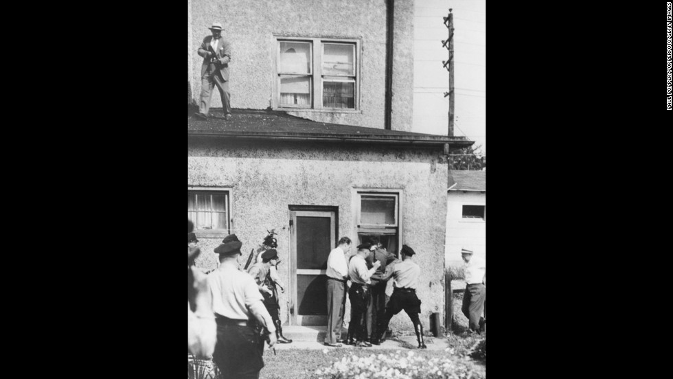 Howard Unruh, a World War II veteran, shot and killed 13 of his neighbors on September 5, 1949, In Camden, New Jersey. Unruh barricaded himself in his house after the shooting. Police overpowered him the next day. He was ruled criminally insane and committed to a state mental institution.