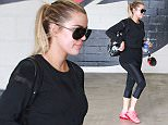 UK CLIENTS MUST CREDIT: AKM-GSI ONLY EXCLUSIVE: Reality television star Khloe Kardashian is spotted going for a workout in Beverly Hills, California. Also spotted at the same gym was professional basketball player James Harden.  Pictured: Khloe Kardashian Ref: SPL1067562  300615   EXCLUSIVE Picture by: AKM-GSI / Splash News