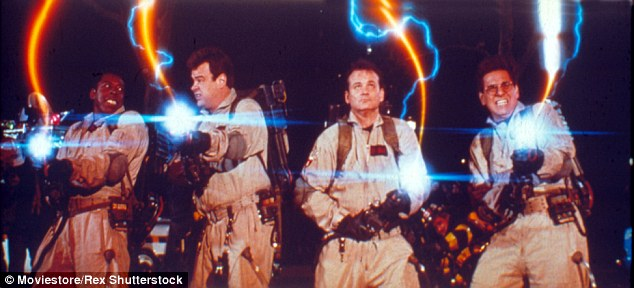 Very similar: The weapon, which looks much like a motorized backpack with a gun attached to it, looks very similar to the original version from the first Ghostbusters flick from 1984 (pictured L-R)Ernie Hudson, Dan Aykroyd, Bill Murray and Harold Ramis