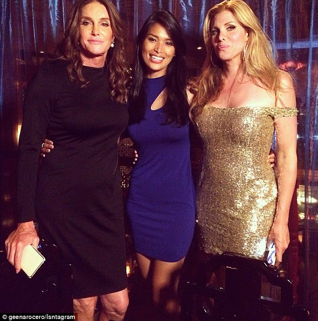 Fitting in: Caitlyn Jenner spent time with two other famous transgender women while in NYC for the Gay Pride Parade on June 28 - model Geena Rocero, center, and actress Candis Cayne, right