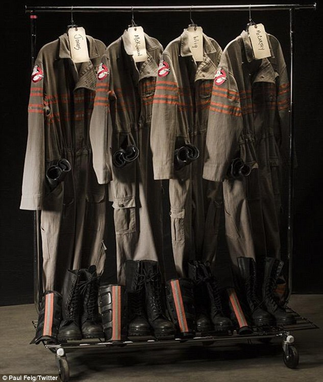 Ghostbusters suits: The 52-year-old filmmaker previously teased fans by tweeting a photo of the costumes worn by his all-female cast writing, '#Whatyougonnawear'