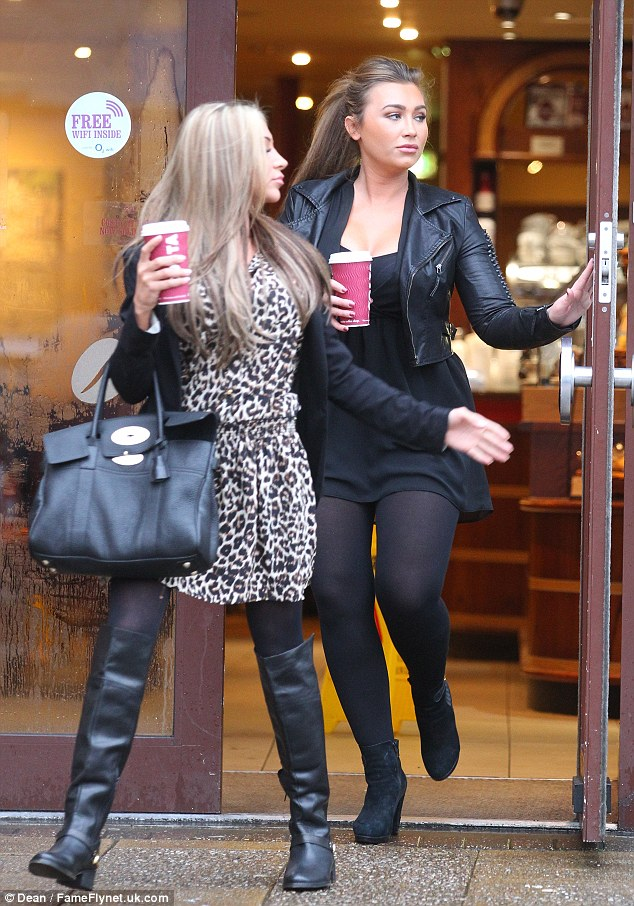 Caffeine fix: The former TOWIE star grabbed a hot drink with a female friend