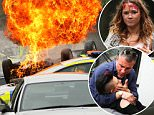 """Picture Shows: General View, GV  July 02, 2015    ** Min Web / Online Fee £400 For Set **    """"Hollyoaks"""" films a dramatic car crash scene involving Ester Bloom (played by Jazmine Franks) and Kim Butterfield (played by Daisy Wood-Davis). Dylan Jenkins (played by James Fletcher) escapes from a police van and rushes to help the pair, with help from his father Trevor Royle (played by Greg Wood). Grace Black (played by Tamara Wall) was also seen on set during the dramatic scene.     The cast needed warming up between takes, as they were seen wrapped in warm clothes and holding hot water bottles as the weather turned cold and windy in Liverpool.     ** Min Web / Online Fee £400 For Set **    EXCLUSIVE All Rounder  WORLDWIDE RIGHTS  FameFlynet UK © 2015  Tel : +44 (0)20 3551 5049  Email : info@fameflynet.uk.com"""