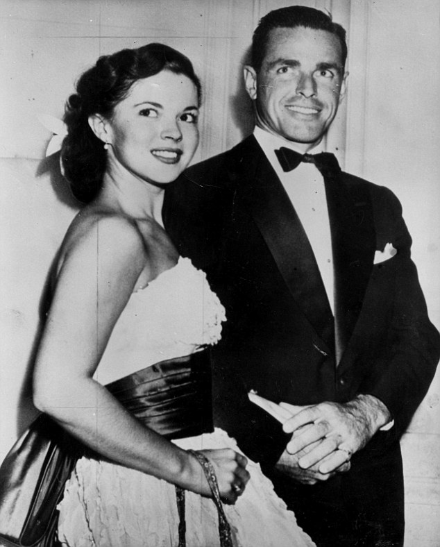 Second marriage: Shirley pictured with her husband Charles Black, who died August 2005, in April 1950, months before their wedding