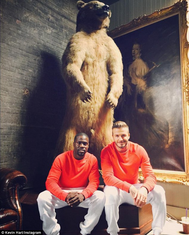 Hart (left) and Beckham appeared sat in front of a stuffed bear in a separate post on the social network