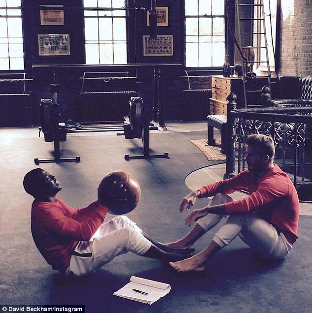 The pair appeared in a separate post on Beckham's Instagram hard at work in the gym