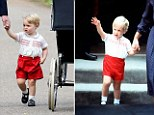 Composite of pictures of Prince George (left) at the christening of Princess Charlotte on 05/07/15 and Prince William (right) after meeting his baby brother Prince Harry on 16/09/84. Prince George's outfit was almost an exact copy of the red shorts and embroidered white shirt his father wore to meet baby Prince Harry for the first time. PRESS ASSOCIATION Photo. Issue date: Sunday July 5, 2015. The throwback ensemble mirrored the one the Duke of Cambridge wore as a two year old over 30 years ago in September 1984  - but George's version is a new one by children's wear designer Rachel Riley. See PA story ROYAL Christening Shorts. Photo credit should read: PA Wire