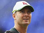CARDIFF, WALES - JULY 07: Michael Clarke of Australia looks on as a rain shower passes during a nets session ahead of the 1st Investec Ashes Test match between England and Australia at SWALEC Stadium on July 7, 2015 in Cardiff, United Kingdom.  (Photo by Ryan Pierse/Getty Images)