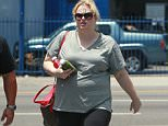EXCLUSIVE Coleman-Rayner  Los Angeles, CA. USA. July  6, 2015. Aussie comedic actress Rebel Wilson looks to be on a health-kick as she is seen leaving an LA gym with healthy juice beverages in hand. The sweaty comedienne looked to be getting some health tips as she chatted with her muscular trainer outside the west hollywood gym.  CREDIT LINE MUST READ: Coqueran/Coleman-Rayner Tel US (001) 310-474-4343 - office? Tel US (001) 323 545 7584 - cell www.coleman-rayner.com. Los Angeles CA, USA