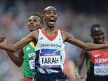 August 11th.2012. London. Olympic Games. Olympic stadium, Stratford. Credit Image: Andy Hooper/Daily Mail/Solo Syndication  Mo Farah wining his second gold medal in the 5000m  . REXMAILPIX.