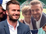 David Beckham and son Romeo wait for the Andy Murray match on centre court during day Nine of the Wimbledon Championships at the All England Lawn Tennis and Croquet Club, Wimbledon. PRESS ASSOCIATION Photo. Picture date: Wednesday July 8, 2015.  See PA Story TENNIS Wimbledon. Photo credit should read: Dominic Lipinski/PA Wire. RESTRICTIONS: Editorial use only. No commercial use without prior written consent of the AELTC. Still image use only - no moving images to emulate broadcast. No superimposing or removal of sponsor/ad logos. Call +44 (0)1158 447447 for further information.