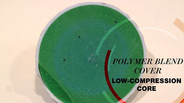 After: A bright green middle was revealed comprised of a polymer blend cover with a low compression core