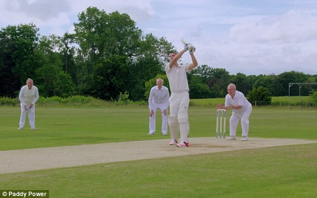 Pietersen smashes a six while playing for Filchester CC during the tongue-in-cheek video
