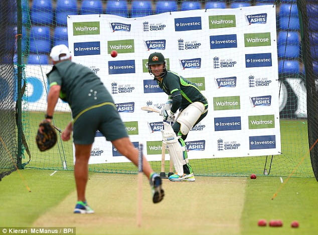 Australian captain Michael Clarke in the nets in Cardiff on Monday morning as he prepares for the first Test