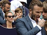 Mandatory Credit: Photo by Ray Tang/REX Shutterstock (4898835w)  David Beckham and Romeo Beckham  Wimbledon Tennis Championships, London, Britain - 08 Jul 2015