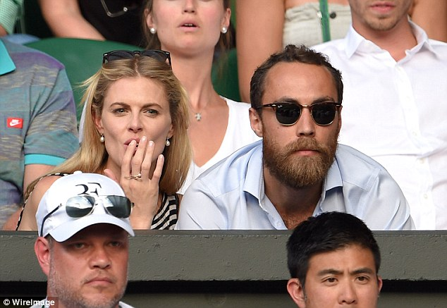 James Middleton and his girlfriend Donna Air on Centre Court on Monday