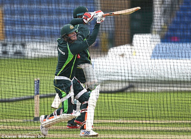 Steve Smith, pictured hitting out in the nets, will be looking to continue his fine form in England this summer