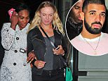 8.JULY.2015 - LONDON - UK AMERICAN RAPPER DRAKE WAS SPOTTED DINING WITH REIGNING WIMBLEDON WOMEN CHAMPION SERENA WILLIAMS AND FELLOW TENNIS PROFESSIONAL CAROLINE WOZNIACKI AT NOVIKOV RESTAURANT IN CENTRAL LONDON . BYLINE MUST READ : XPOSUREPHOTOS.COM ***UK CLIENTS - PICTURES CONTAINING CHILDREN PLEASE PIXELATE FACE PRIOR TO PUBLICATION *** **UK CLIENTS MUST CALL PRIOR TO TV OR ONLINE USAGE PLEASE TELEPHONE   44 208 344 2007 **