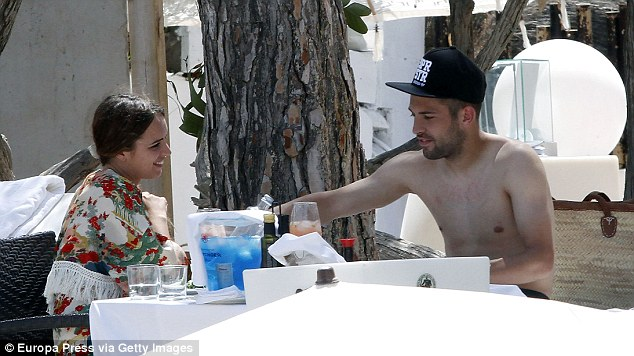 Barcelona left-back Jordi Alba is also holidaying in Ibiza with his girlfriend Romarey Ventura