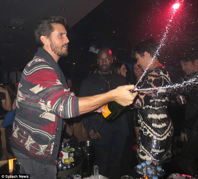Wild: Disick, pictured here in Las Vegas in November, has battled alcohol issues but is yet to curb his partying