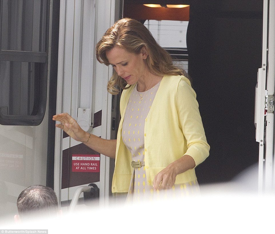 Getting on with things: The actress was seen on the set of her new movie Miracles From Heaven in Atlanta on Wednesday