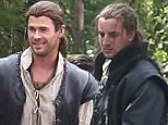 Chris Hemsworth is spotted on set of The Huntsman with co-star Nick Frost...Hemsworth was seen on horse back and with his stunt double during the days filming.....Pictured: Chris Hemsworth..Ref: SPL1070279  070715  ..Picture by: James Jenkins / Splash News....Splash News and Pictures..Los Angeles: 310-821-2666..New York: 212-619-2666..London: 870-934-2666..photodesk@splashnews.com..