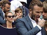 Mandatory Credit: Photo by Ray Tang/REX Shutterstock (4898835w)  David Beckham and Romeo Beckham  Wimbledon Tennis Championships, London, Britain - 08 Jul 2015