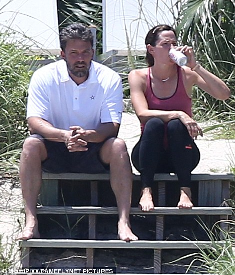 A lot to process: Garner, 43, sipped on a can of Diet Coke during the exchange while Affleck appeared to have a lot on his mind
