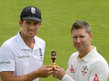 "England cricket captain Alastair Cook (L) and Australia's cricket captain Michael Clark pose with the Ashes trophy ahead of the Ashes test cricket series at the Swalec stadium in Cardiff on July 7, 2015. Australia captain Michael Clarke has insisted his side will play ""hard but fair"" cricket as they try to win their first away Ashes series in 14 years. AFP PHOTO / GEOFF CADDICK RESTRICTED TO EDITORIAL USE. NO ASSOCIATION WITH DIRECT COMPETITOR OF SPONSOR, PARTNER, OR SUPPLIER OF THE ECBGEOFF CADDICK/AFP/Getty Images"
