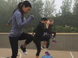kourtneykardashSister workout sesh this morning in the rain.