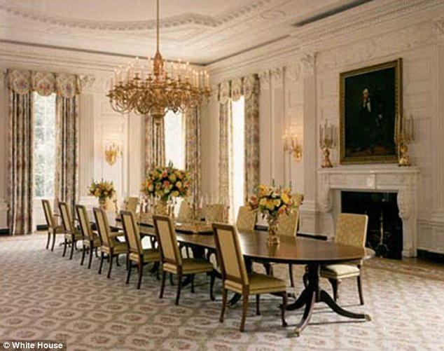 Former: The room was last done by Hillary Clinton in 1998 (above) while her husband was in office