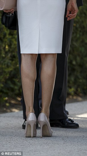 Letizia's nude peep-toes show off her perfect pins