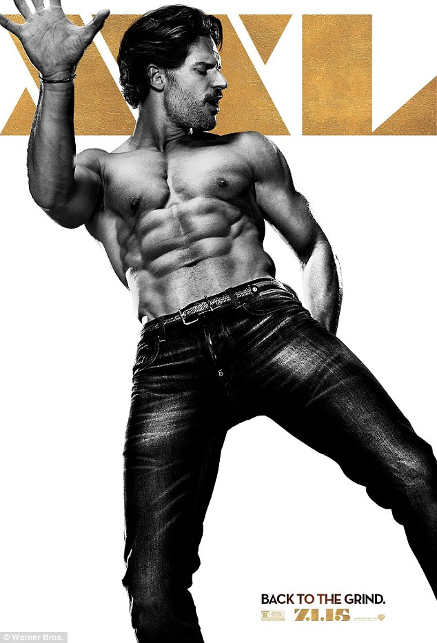 Too muscular: Joe admitted that his Magic Mike XXL promotional poster was photoshopped to 'make him look worse' and remove some of the definition